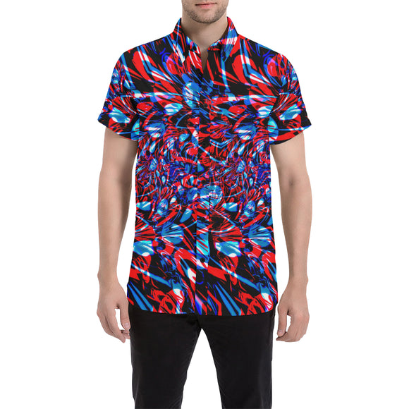 Psychedelic Streetart Chaos Short Sleeve Button Up Shirt (Red & Blue) | BigTexFunkadelic