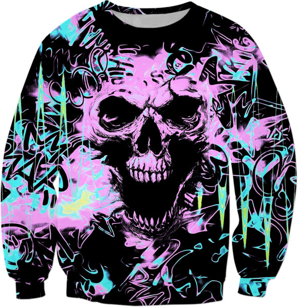 Alternative Skull Graffiti Sweatshirt | BigTexFunkadelic