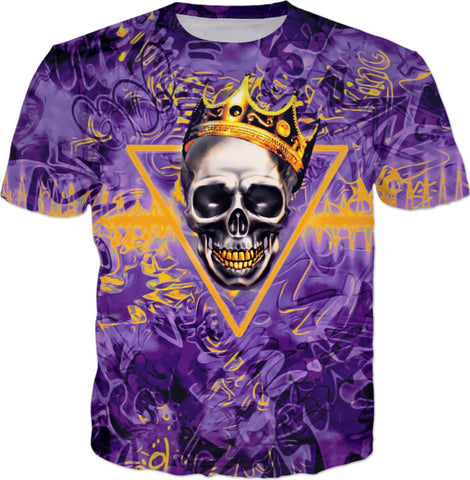 Purple and Gold Skull King All Over Print Graffiti T-Shirt | BigTexFunkadelic