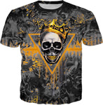 Black and Gold Skull King All Over Print Graffiti T-Shirt | BigTexFunkadelic