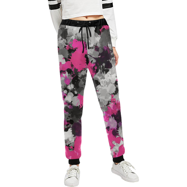 Pink and Grey Paint Splatter Women's All Over Print Jogger Sweatpants | BigTexFunkadelic