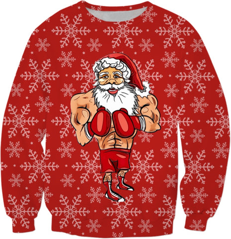 Boxing Santa All Over Print Sweatshirt