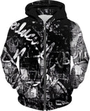 Black And White Urban Graffiti Zip-Up Hoodie | Streetwear | BigTexFunkadelic