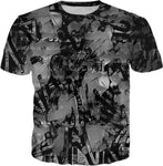 Black And Gray All Over Print Graffiti T-Shirt | BigTexFunkadelic