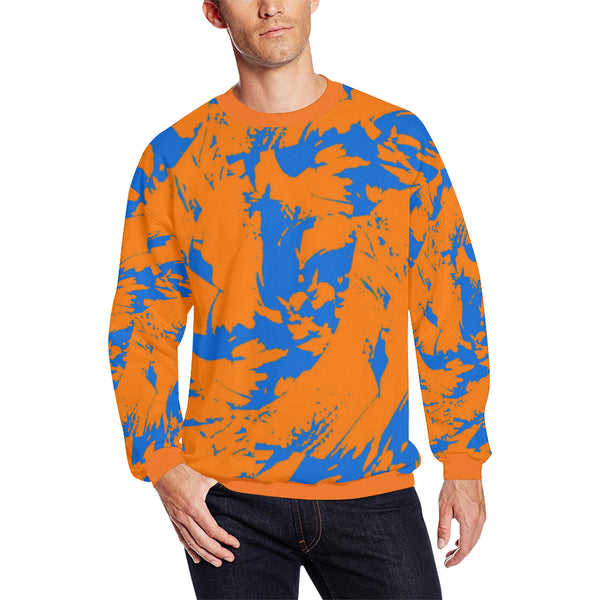 Blue and Orange Paint Splatter Graffiti Men's Big & Tall Oversized Fleece Crewneck Sweatshirt | BigTexFunkadelic