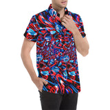 Psychedelic Streetart Chaos Men's Big & Tall Short Sleeve Button Up Shirt (Red & Blue) | BigTexFunkadelic