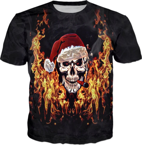 Christmas Skull All Over Print T-Shirt | BigTexFunkadelic