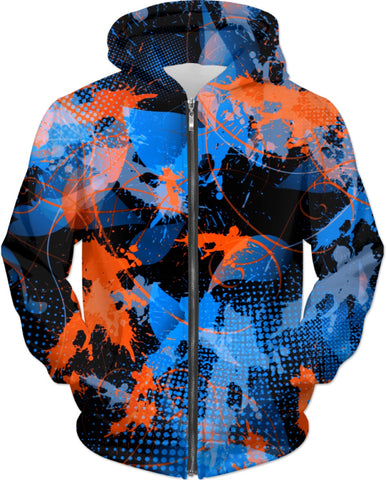 Blue and Orange Paint Splatter Abstract Hoodie | BigTexFunkadelic