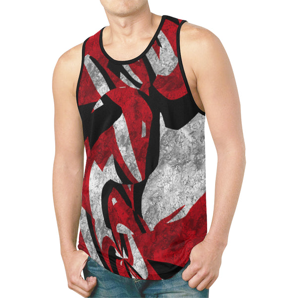 Abstract Red Acid Grunge Relaxed Fit Men's Tank Top | BigTexFunkadelic