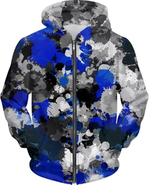 Blue and Gray Paint Splatter Hoodie | BigTexFunkadelic