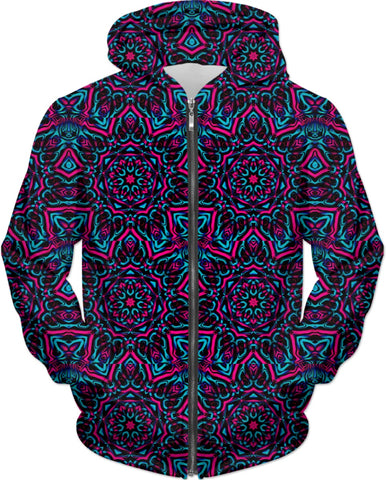Blue and Pink Mandala Collage Zip-Up Hoodie | BigTexFunkadelic