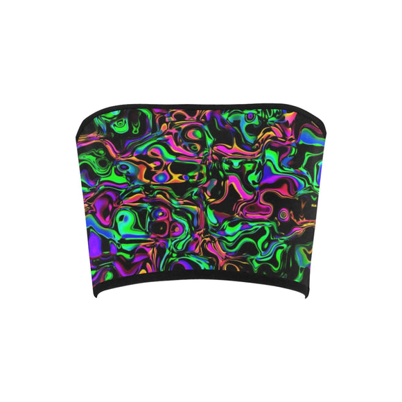 Iridescent Oil Slick Warped Fractal Bandeau Top | BigTexFunkadelic