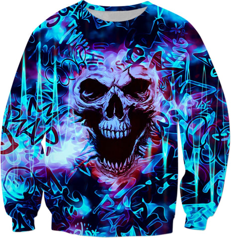 Electric Blue Alternative Skull Graffiti Sweatshirt | BigTexFunkadelic