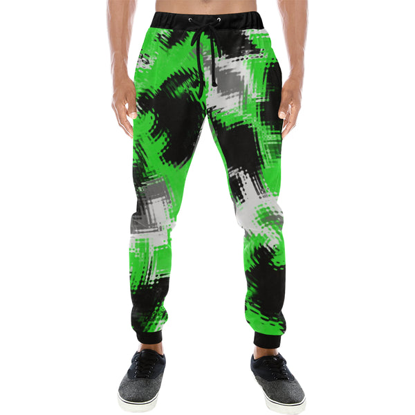 Green Rave Abstract Men's All Over Print Jogger Sweatpants | BigTexFunkadelic