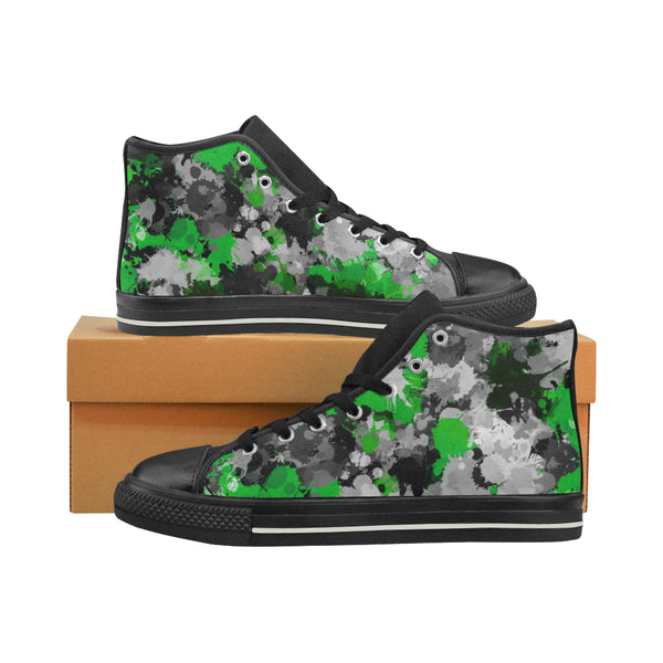 Green and Grey Paint Splatter Hi-Top Men's Sneakers | BigTexFunkadelic