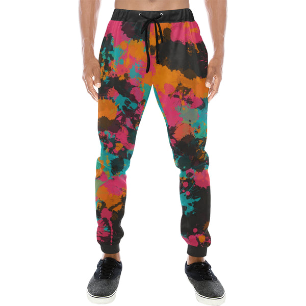 Fiesta Colors Paint Splatter Men's Big & Tall All Over Print Jogger Sweatpants | BigTexFunkadelic