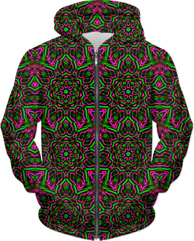 Pink and Green Mandala Collage Hoodie | BigTexFunkadelic