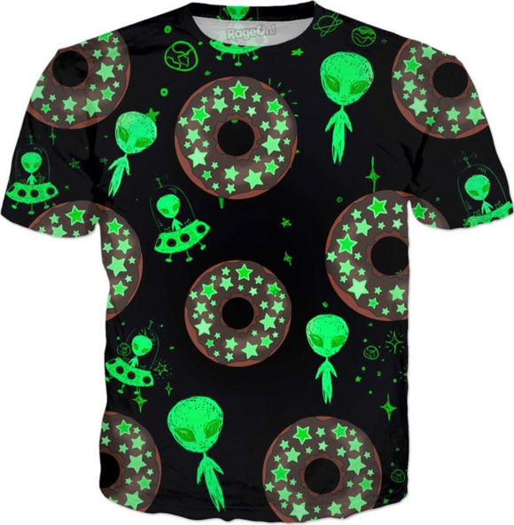 Alien Space Donut All Over Print T-Shirt | BigTexFunkadelic