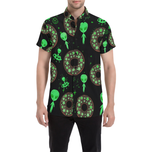 Alien Space Donut Button Down Short Sleeve Shirt | BigTexFunkadelic