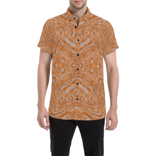 Burnt Orange Geo Button Down Short Sleeve Shirt | BigTexFunkadelic