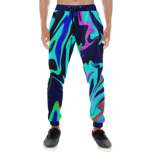 Turquoise Oil Spill Rave Men's All Over Print Jogger Sweatpants | BigTexFunkadelic