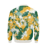 Green Yellow and White Paint Splatter Big & Tall Bomber Jacket | BigTexFunkadelic