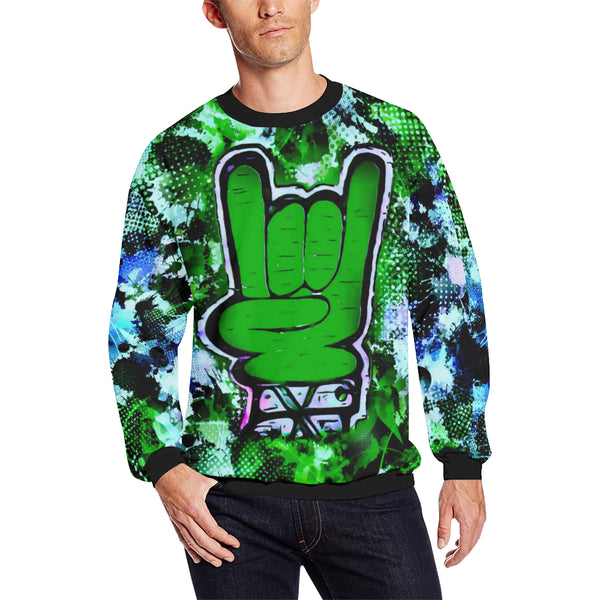 Rock On Alternative Green Men's Big & Tall Oversized Fleece Crewneck Sweatshirt | BigTexFunkadelic