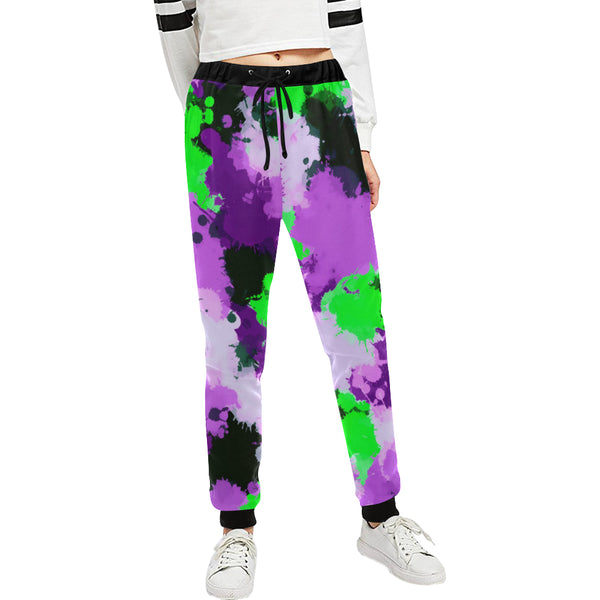 Purple and Green Paint Splatter Women's All Over Print Jogger Sweatpants | BigTexFunkadelic