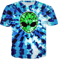 Blue and Green Acid Wash Alien Tie-Dye T-Shirt | BigTexFunkadelic