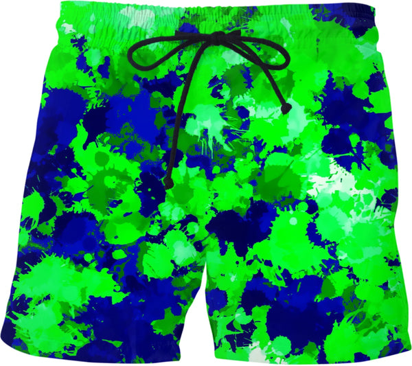 Green and Blue Paint Splatter Swim Shorts | BigTexFunkadelic