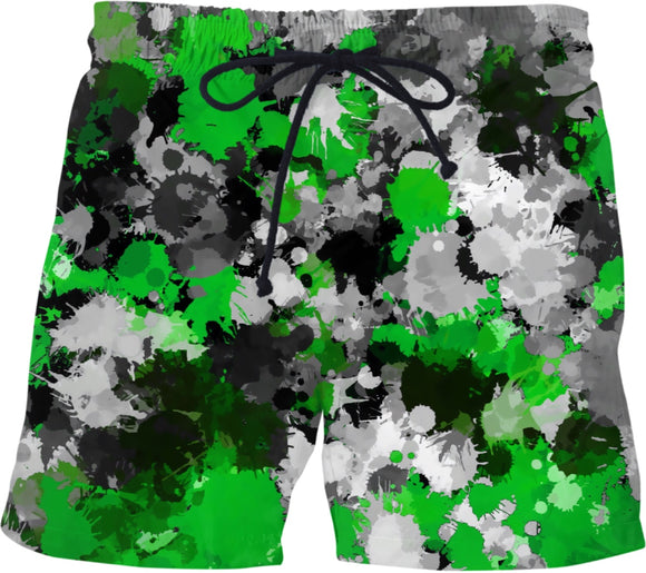 Green and Grey Paint Splatter Swim Shorts | BigTexFunkadelic