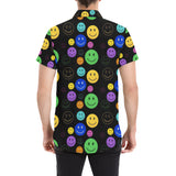 Smiley Face Short Sleeve Button Up Shirt