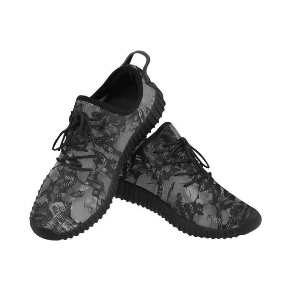 Grey Graffiti Men's Breathable Woven Running Shoes | BigTexFunkadelic