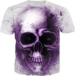 Purple Abstract Skull T-Shirt