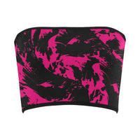 Pink and Black Paint Splatter Bandeau Top | BigTexFunkadelic
