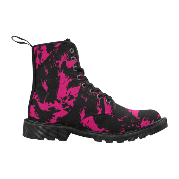 Pink and Black Paint Splatter Women's Martin Boots | BigTexFunkadelic