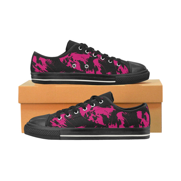 Pink and Black Paint Splatter Women's Low-Top Print Canvas Shoes | BigTexFunkadelic
