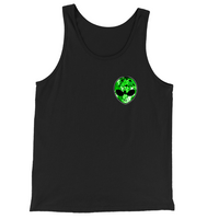 Green Alien Head Chest Logo Tank Top | BigTexFunkadelic