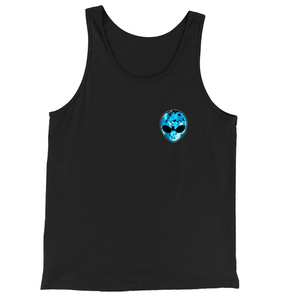 Blue Alien Head Chest Logo Tank Top | BigTexFunkadelic