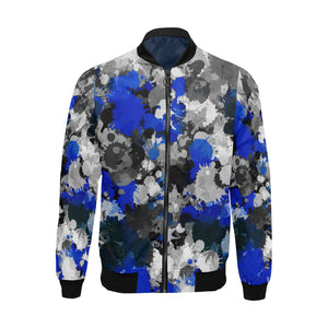 Blue and Grey Paint Splatter Big & Tall Bomber Jacket | BigTexFunkadelic