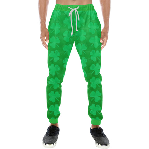 St. Patrick's Day Clovers Men's All Over Print Sweatpants - BigTexFunkadelic