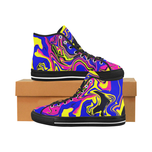 Blue Oil Spill Psychedelic Hi-Top Men's Sneakers | BigTexFunkadelic