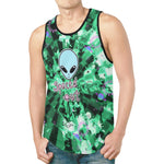 Spaced Out Green Tie-Dye Alien Relaxed Fit Men's Tank Top | BigTexFunkadelic