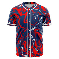 Red White and Blue Patriotic Oil Slick Baseball Jersey