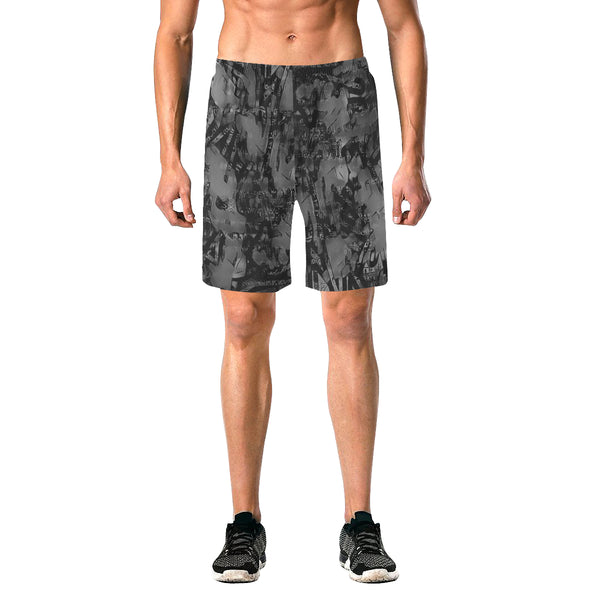 Grey and Black Graffiti Casual Shorts | BigTexFunkadelic