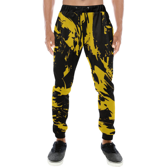 Black and Yellow Paint Splatter Men's All Over Print Jogger Sweatpants | BigTexFunkadelic