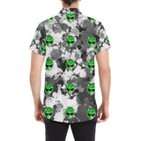 Alien Paint Splatter Short Sleeve Button Up Shirt