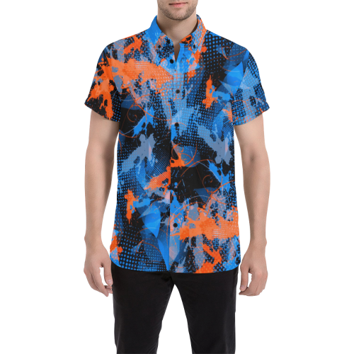 Blue and Orange Paint Splatter Button Down Short Sleeve Shirt | BigTexFunkadelic