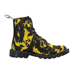 Black and Yellow Paint Splat Graffiti Men's Black Boots | BigTexFunkadelic