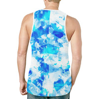 Blue and white tie-dye back of Fire and Ice Alien Blast Relaxed Fit Men's Tank Top | BigTexFunkadelic